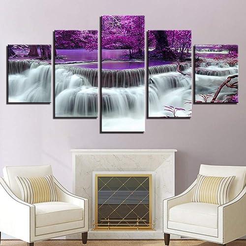 ordenar ahora YHEGV YHEGV YHEGV Impresiones en Lienzo Impresiones en Lienzo Póster Sala de Estar Decoración Marco de Pintura 5 Piezas púrpura Bosque árbol Lago Cascada Paisaje Imágenes Arte de la Parojo  ¡envío gratis!