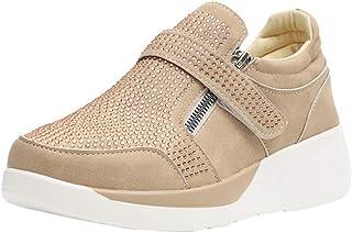 Zapatillas de Deporte Casuales para Mujer Moda Rhinestone Color sólido Cremallera Lateral Correa de Palo Zapatos de Plataf...