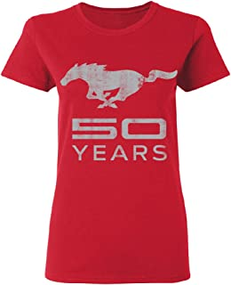 Mustang 50 Years Licensed Product Women's T-Shirt Horse Official Ford Tee