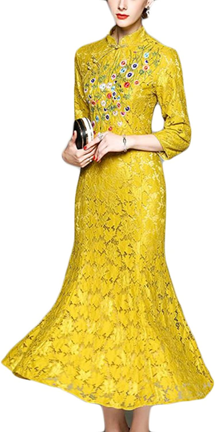 GAGA Women Fashion 3 4 Sleeve Embroidered Lace Printing Slim Fit Maxi Dress