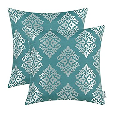 Pack of 2 CaliTime Soft Throw Pillow Covers Cases for Couch Sofa Home Decor, Vintage Damask Floral, 18 X 18 Inches, Teal