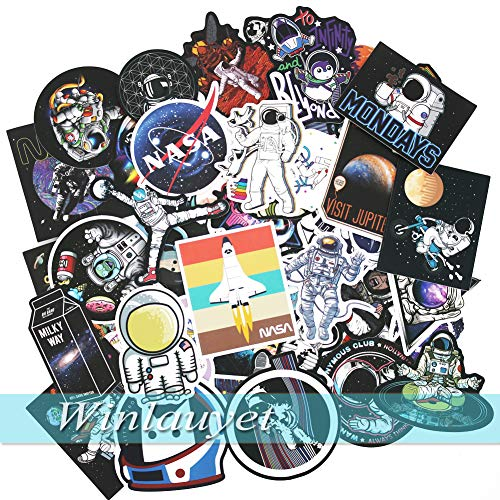Winlauyet 50/100 pcs NASA Stickers for Laptop Space Explorer Galaxy Vinyl Decals Skateboard Luggage Car Bike Bumper Spaceman Spacecraft Universe Planet Logo Graffiti Sticker (50 pcs)