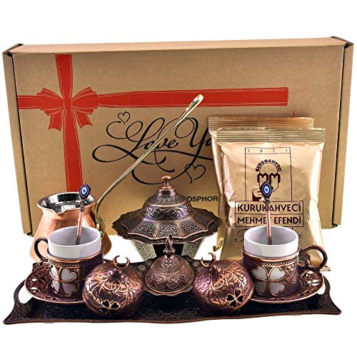 Sugar Bowl,Spoons /& 2x 3.5 Oz Coffee.17 Pieces HeraCraft Premium Turkish Greek Arabic Coffee /& Espresso Making Serving Gift Set with Copper Pot Coffee Maker Cups Saucers Tray gold