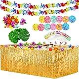 Yojoloin 102 Pcs Hawaiano Luau Falda de mesa Set de decoración,de fiesta tropical de 9.6FT con hojas de palma Flores hawaianas Paraguas decoraciones de mesa de fiesta Tiki de verano