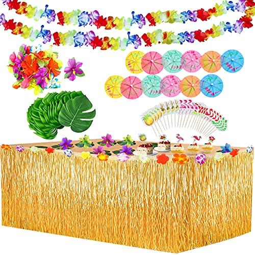 Yojoloin 102 Pezzi Gonna Tavolo Hawaiana Tovaglia da Tavolo Set,Foglie di Palma Fiori hawaiani Cake Topper, Ghirlande Banner Luau per Decorazioni da Tavola Hawaiane Luau Party