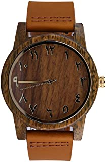 Wooden Arabic Numbers Numeral Watches Genuine Leather Band with Quick Release Pins