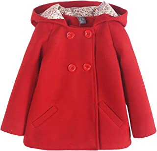 Abrigo de Lana para Niñas con Forro Floral Doble Filas de Botones Chaqueta Calentito Elegante con Capucha Estilo Dulce para Invierno Otoño Coat Outwear