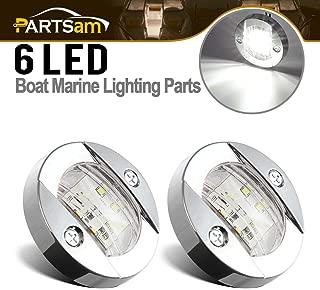Partsam 3inch Round Navigation Light Chrome Boat Marine LED Transom Mount Stern Lights Flush Mount(Pack of 2)