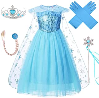 VanStar Snow Queen Princess Dress Kids Costumes Birthday Supplies Girls Party Cosplay Clothes With Cloak, Wig, Crown, Mace...
