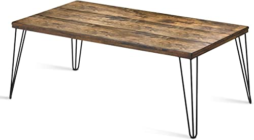 lowest Giantex Rustic Coffee Table with Wooden Top and Metal Legs, online Large Sofa Table Painted with Spray Paint, Wooden Table with Big Surface for Living Room, Home Office, Modern Coffee wholesale Table (Walnut) outlet sale