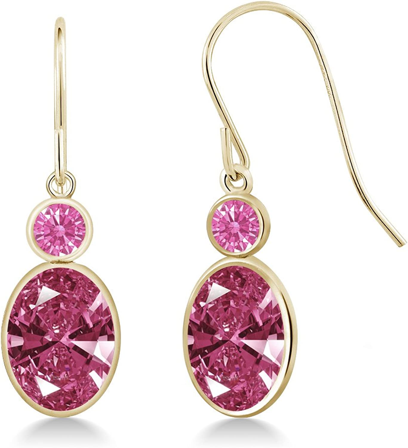2.64 Ct Red 14K Yellow gold Earrings Made With Swarovski Zirconia