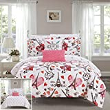 Chic Home Le Marias 9 Piece Reversible Comforter Paris is Love Inspired Printed Design Bed in a Bag-Sheet Set Decorative Pillows Shams Included Size, Queen, Pink