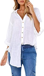 Womens Roll-up Sleeve Casual Loose Blouse Pocket Button Down Shirts Tops