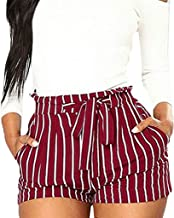 Women's High Waist Shorts,Ladies Summer Stripe Wide Leg Bow Short Trousers Hot Pant with Pockets