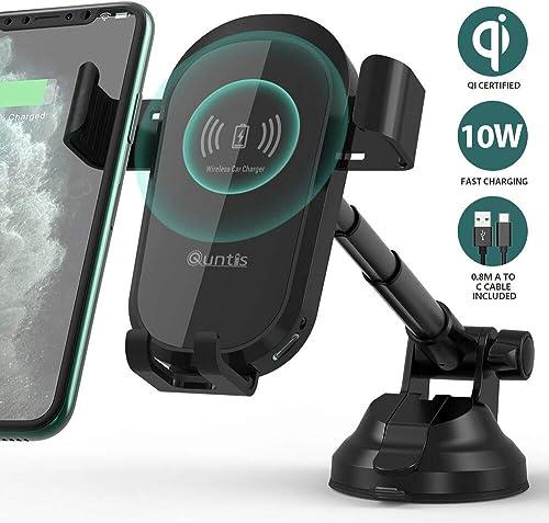 Spigen SteadiBoost Qi Universal Supporto per Ricarica Wireless Auto Veloce One-Tap Tech Caricatore Auto Wireless Quick per iPhone 11 // XS Caricabatterie Auto Incluso Galaxy S10 // Note 10