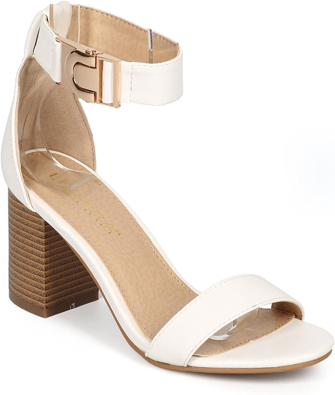 Liliana Women Leatherette Open Toe Clasp Ankle Strap Stacked Sandal CG04 - White Leatherette