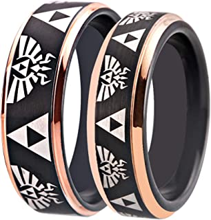 Cloud Dancer Free Custom Engraving The Legend of Zelda Ring- Crest and Triforce Ring Black and Rose Gold Step Tungsten Carbide Wedding Bands Ring