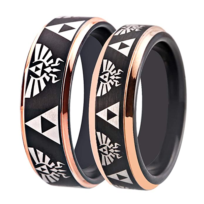 Cloud Dancer Free Custom Engraving The Legend of Zelda Ring Crest and Triforce Ring Black and Silver Step Tungsten Carbide Wedding Bands Ring