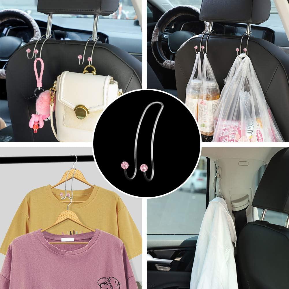 Black Soleebee Pack of 2 Car Back Seat Headrest Hooks Hanger Organiser Hooks Universal Durable Car Seat Hooks for SUV Truck Vehicle Bling Multifunctional Headrest Holder Car Hooks