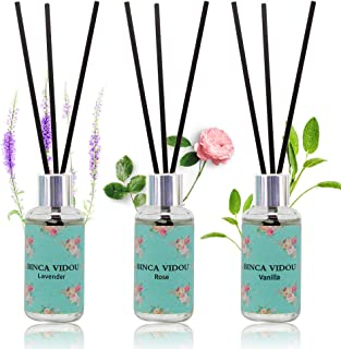 binca vidou Reed Diffuser Set of 3, Lavender Rose Vanilla Oil Reed Diffusers for Bedroom..