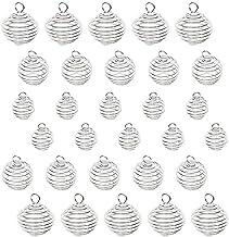 30PCS / Set 3 Grootte Spiral Kralen hangers ketting Cages Hangers Verzilverd Stone Holder ketting hangers voor sieraden maken