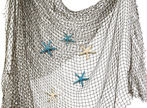 Nautical Crush Trading Fishing Net 5' x 7' with Blue and White Finger Starfish | Net with Finger Starfish 3'-4' | Authentic Net and Starfish for Decor Plus Free Nautical Ebook by Joseph Rains