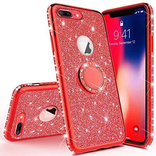 JAWSEU Funda Compatible con iPhone 6/6S Brillante Brillo Suave Silicona TPU Gel Funda con 360 Grados Rotación Anillo Bling Glitter Sparkle Diamantes Ultra-Delgada Enchapado Protectora Carcasa,
