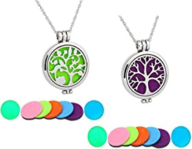 2Pcs Aromatherapy Essential Oil Diffuser Necklace Set Two patterns Tree Perfume Necklace Locket Jewelry For Women Girls