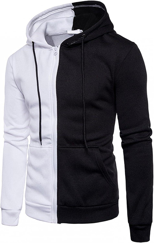 Huangse Mens Casual Long Sleeve Hoodies Sweatshirt Drawstring Hooded T-Shirts Lightweight Workout Hoodie Tops Full Zip Jacket