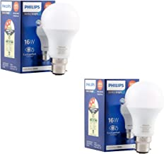 Philips Stellar Bright 16 Watt LED bulb, Base B22 (Cool day light, Pack of 2)