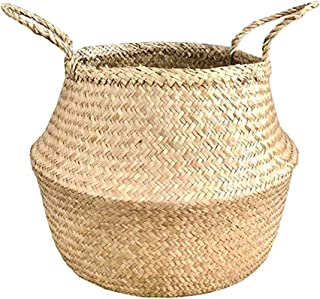 Natural Craft Large Size Seagrass Belly Basket for Storage, Laundry, Picnic and Woven Straw Beach Bag - Plant Pots Cover I...
