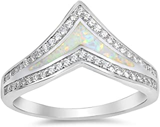 Blue Apple Co. Half Eternity Chevron Midi V Ring Band Created Opal Round CZ 925 Sterling Silver Choose Color