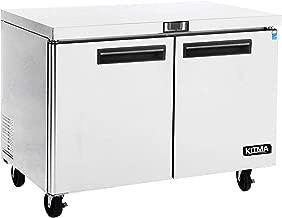 Commercial 2 Door Under Counter Freezer - KITMA 13 Cu. Ft Stainless Steel Worktop Freezer for Restaurant, Kitchen Equipment, 0°F - 8°F