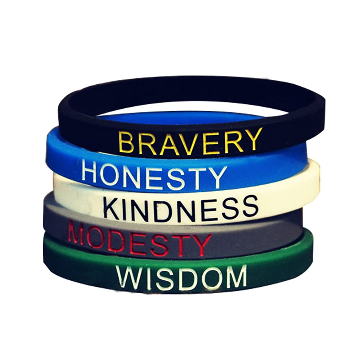 SpringPear 5X Silicone Sport Fitness Wristbands with Different Words Bravery Honesty Kindness Modesty Wisdom for Unisex Adults Young Teenagers 5 PCs