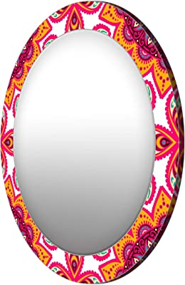 999Store Printed Classical Yellow and Pink Round Mirror ( MDF_17X17 Inch_Multi)