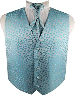 Men's Casual Polyester Woven Dot Pattern Suit Wedding Waistcoat and Ascot Tie