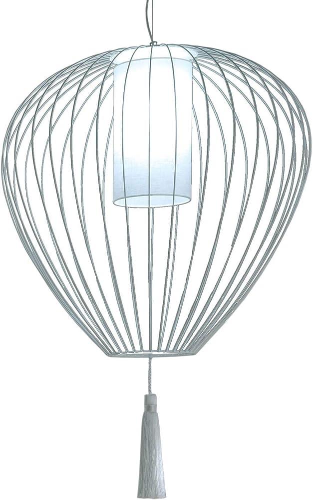 Karman cell, lampada a sospensione Ø84 cm, in metallo bianco lucido e paralume in lino bianco SE613B