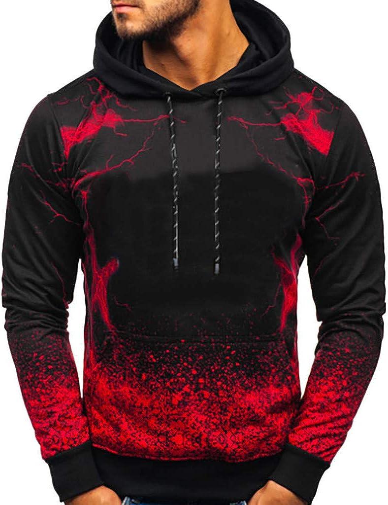 F_Gotal 2019 Men's Slim Fit Hoodie Color Block Pullover Hooded Sweatshirt Crew Neck Gradient Printing Outwear Blouse