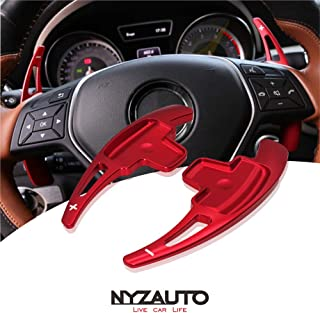 NYZAUTO Aluminum-Alloy Steering Wheel Paddle Shifter Extension Fit For Mercedes Benz A B E GLA GLK SLK M GL Class(Model A-Red)