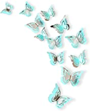 pinkblume Silver Blue Butterfly Decorations Stickers 3D Butterfies Wall Decor DIY Home Decorations Removable Wall Decals M...