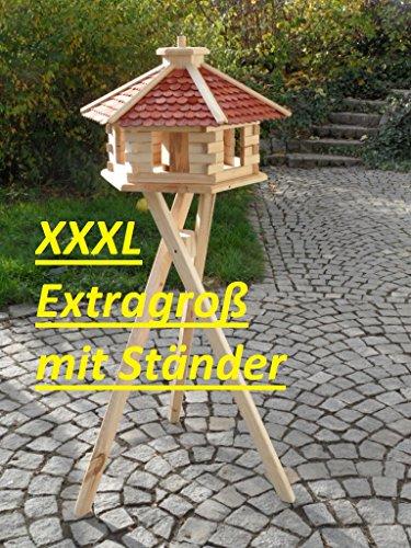 Maxi Vogelhäuschen XXXL Futterhaus Futterhäuschen Vogel Vogelhaus Pavillon Vogelvilla mit oder ohne 3 Bein-Ständer Sonderpreis Futterspender (Braun mit 3 Beinständer)