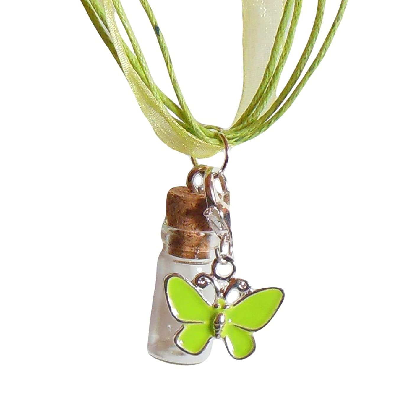 Mini Bottle Necklace Craft Party Favor Kit - Set of 10 - Organza Ribbon Necklaces, Charms, Mini Glass Cork Top Bottles (Green)