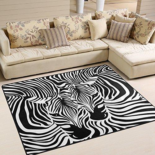 Use7 Divertida alfombra de área con estampado de cebra para sala de estar, dormitorio, 160 cm x 122 cm