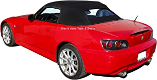 Sierra Auto Tops Convertible Soft Top Replacement, compatible with Honda S2000 2002-2009, w/Heated Glass Window, Twill Grain Vinyl, Black