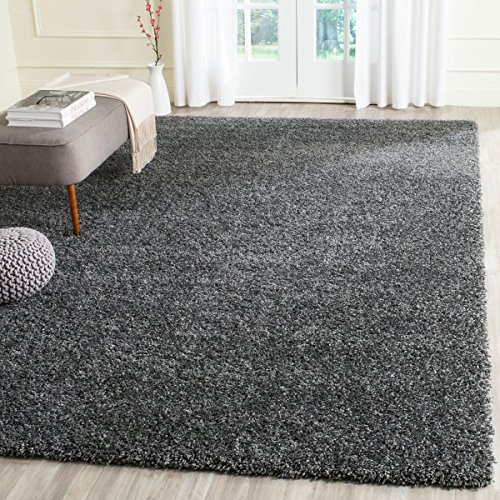 AQS Soft Shaggy Thick Plain Rug Non Shed 5cm Thick Pile Modern Area Rugs Non Shed Decorative (Dark Grey, 120x170cm (4'x5'6'))