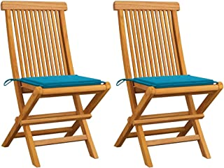 vidaXL 2X Solid Teak Wood Garden Chairs with Blue Cushions Wooden Outdoor Patio Terrace Dinner Dining Seat Seating Sitting...