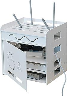 MNBVH Caja para Router WiFi, Cajas de Almacenaje de Cable y Alambre y Regleta y Router, Madera-Plastico Estante Flotante C...