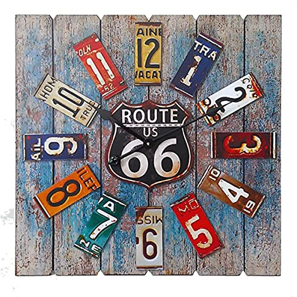 Essential D Cor Entrada Collection Square Route 66 Clock 23 6 By 1 9 By 23 6 Inch