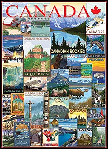 Puzzels 1000 stukjes, Hoge moeilijkheidsgraad Kinderen Familiespel Cadeau Educatief speelgoed Reizen Canada Vintage Ad Decompressie Games Landschap Decoupeerzagen