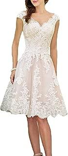Women's Short Vintage Wedding Dress V-Neck Lace Bridal Gowns